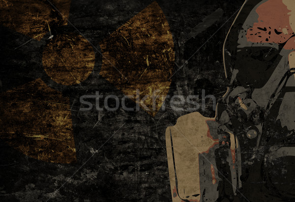 Man with protective mask on dark metal plate background with rad Stock photo © ShawnHempel