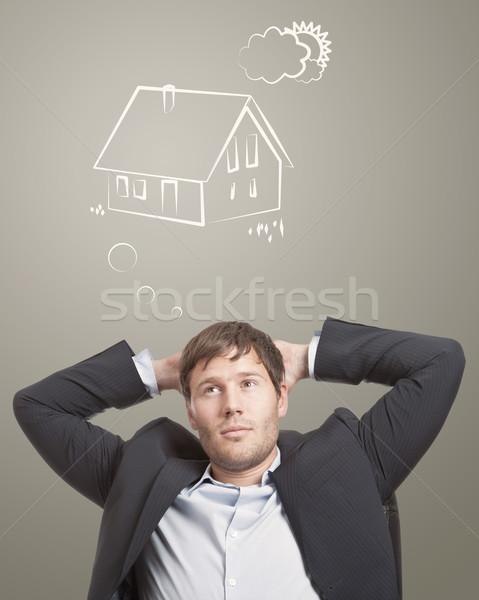 Stockfoto: Droom · huis · jonge · man · denken · man · home