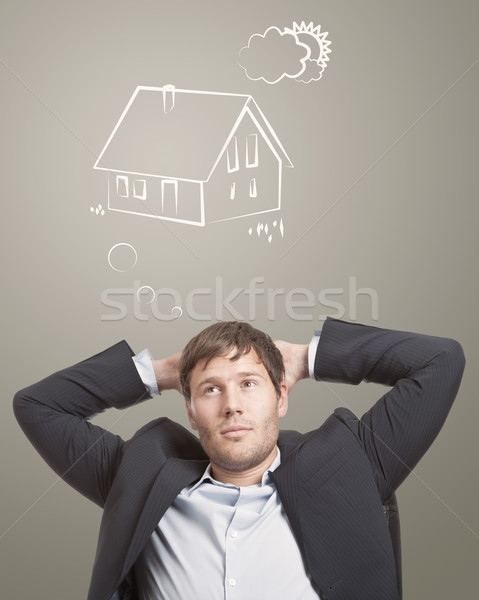 Rüya ev genç düşünme adam ev Stok fotoğraf © ShawnHempel