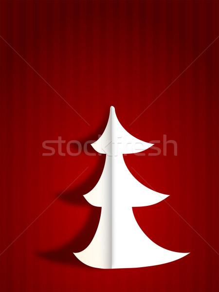 Modernes joyeux Noël carte de vœux rouge blanche Photo stock © ShawnHempel