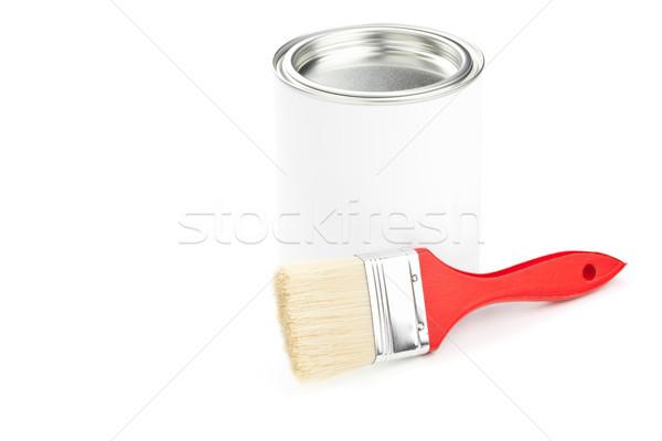 Foto stock: Pintar · ferramentas · vermelho · paint · brush · balde · de · tinta · isolado