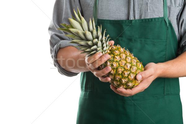 Farmer holding whole fresh pineapple fruit Stock photo © ShawnHempel