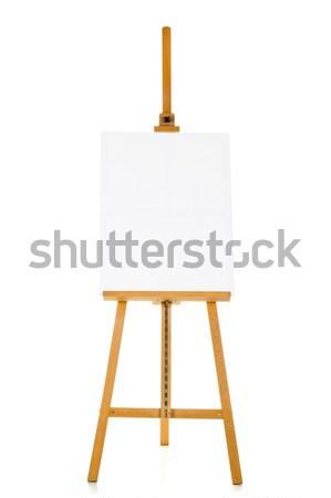 Zdjęcia stock: Sztaluga · płótnie · szablon · biały · drewna