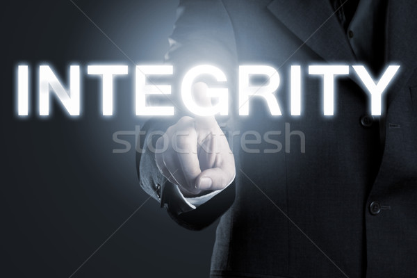 Business moral or ethics concept, man pointing at the word 'inte Stock photo © ShawnHempel