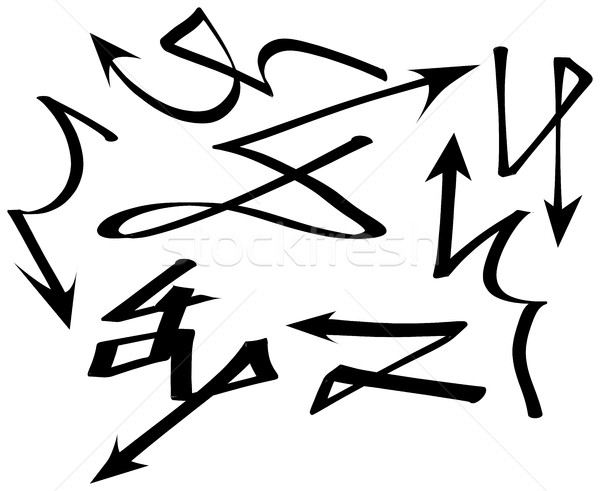 Establecer graffiti flechas colección diferente marcador Foto stock © ShawnHempel