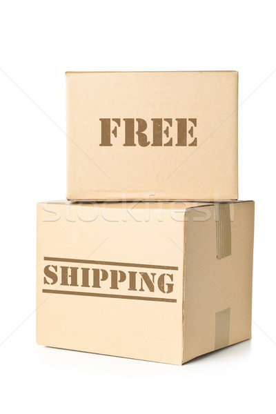 Two carton parcels with Free Shipping imprint Stock photo © ShawnHempel