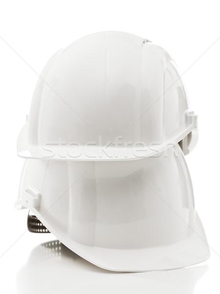 Kettő fehér ipari háttér kalap biztonság Stock fotó © ShawnHempel