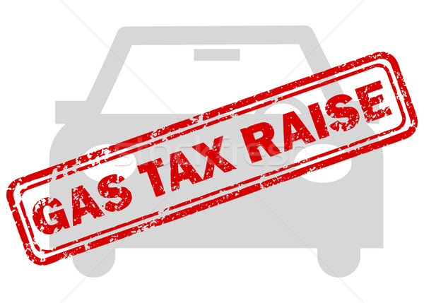 Red gas tax raise rubber stamp on grey car icon Stock photo © ShawnHempel