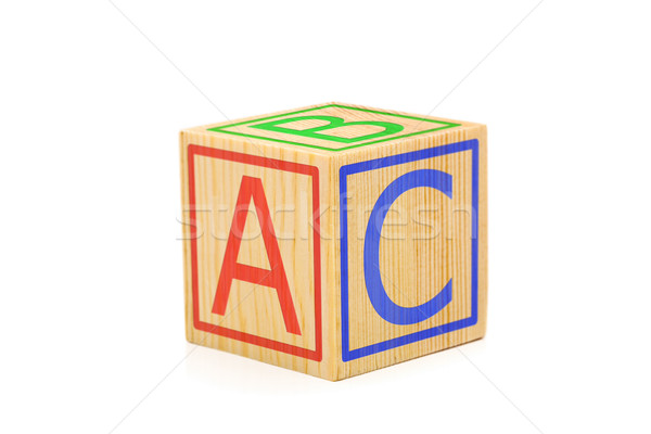 Letters A, B and C imprinted on sides of single brown wooden cub Stock photo © ShawnHempel