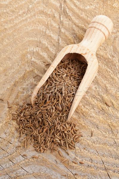 Kimyon tohumları kepçe kurutulmuş kimyon ahşap Stok fotoğraf © ShawnHempel