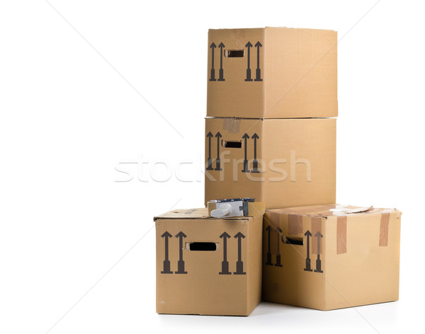 Moving carton boxes stack with tape roller Stock photo © ShawnHempel