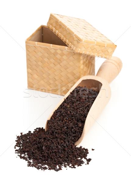 Fekete tea termény Ceylon fából készült merítőkanál Stock fotó © ShawnHempel