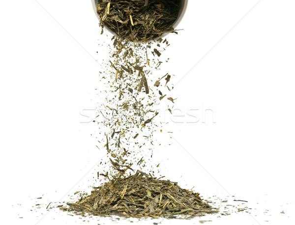 Zielona herbata objętych suszy pozostawia biały żywności Zdjęcia stock © ShawnHempel