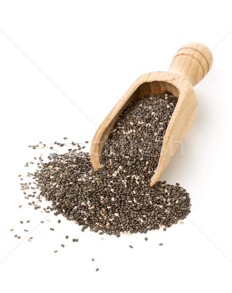 Geheel gedroogd zwarte zaden houten schep Stockfoto © ShawnHempel