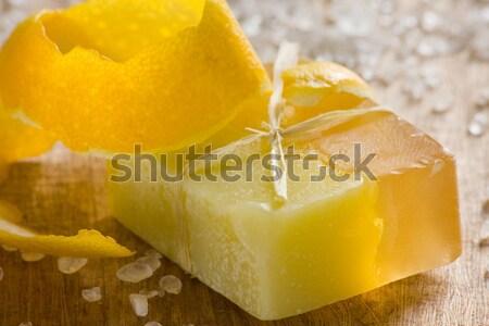 Limão perfumado sabão feito à mão madeira Foto stock © ShawnHempel