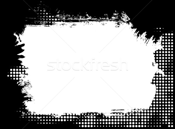 Paint brush grunge halftone border frame Stock photo © ShawnHempel