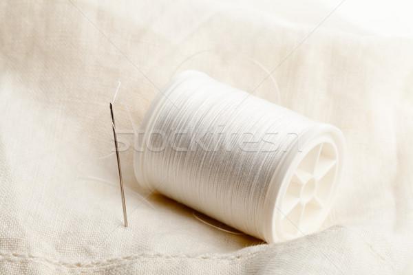 швейных иглы потока макроса белый ткань Сток-фото © ShawnHempel