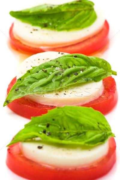 Caprese lezzetli domates mozzarella salata beyaz Stok fotoğraf © ShawnHempel