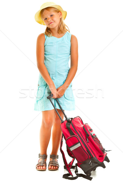 Mädchen junge Mädchen Koffer weiß Reise Stock foto © ShawnHempel