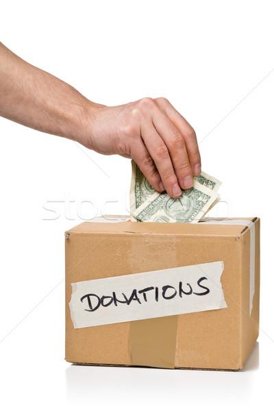 Hombre dinero donaciones caja de cartón dólar Foto stock © ShawnHempel