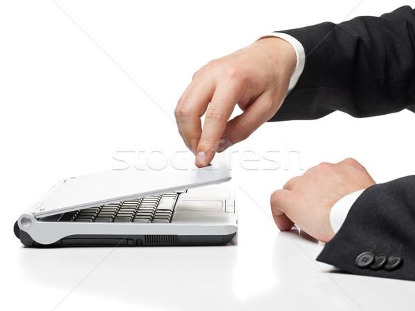 Lavoro imprenditore laptop isolato bianco Foto d'archivio © ShawnHempel
