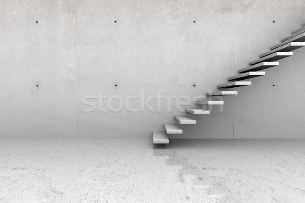 Beton szoba lépcsősor modern üres szoba kő Stock fotó © ShawnHempel