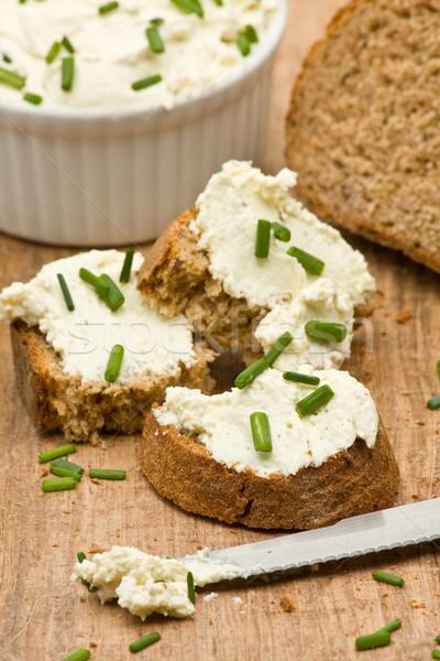 Krém sajt finom friss szeletel kenyér Stock fotó © ShawnHempel
