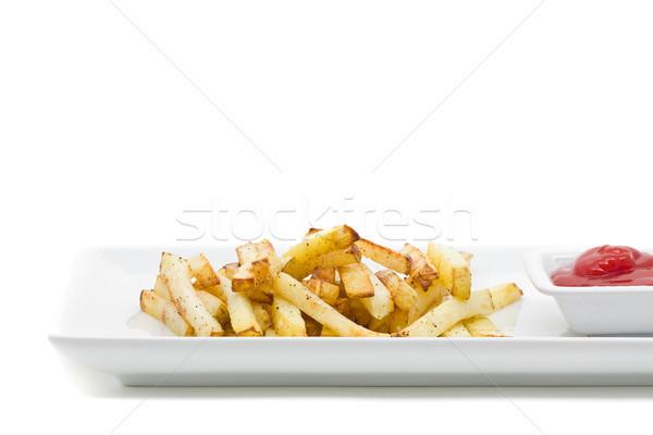 El yapımı patates kızartması lezzetli plaka beyaz el Stok fotoğraf © ShawnHempel