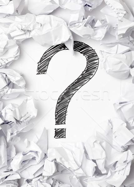 Foto stock: Falta · inspiração · ponto · de · interrogação · meio · documentos · papel
