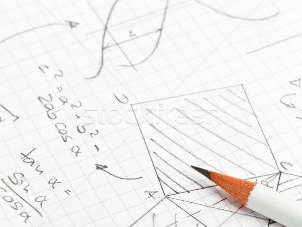 Matemática matemático notas geometria trigonometria lápis Foto stock © ShawnHempel