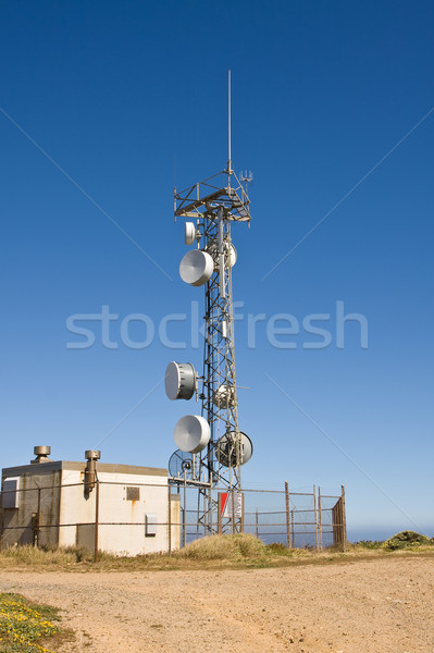 Stockfoto: Antenne · toren · telecommunicatie · station · blauwe · hemel · business