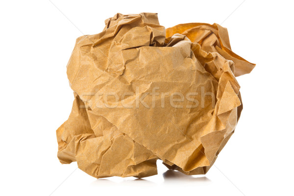 Stock photo: Crumbled brown recycled paper ball on white background
