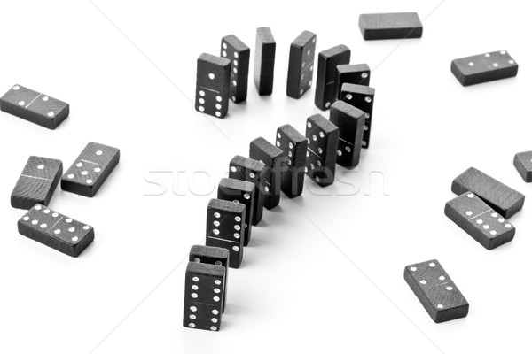 Risk, challenge or uncertainty concept - domino game stones form Stock photo © ShawnHempel