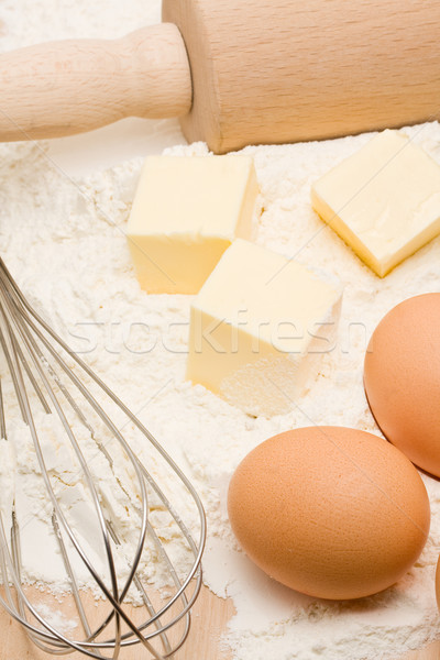 Malzemeler ahşap masa gıda kek Stok fotoğraf © ShawnHempel