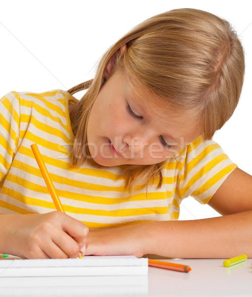 Młoda dziewczyna rysunek ołówki odizolowany biały dziewczyna Zdjęcia stock © ShawnHempel