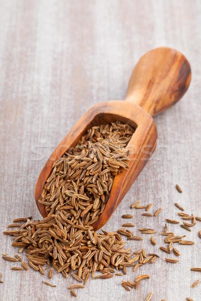 Karwij zaden schep gedroogd komijn houten Stockfoto © ShawnHempel