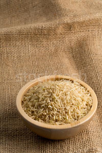 Naturalnych brązowy ryżu puchar konopie Zdjęcia stock © ShawnHempel
