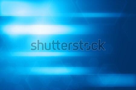 抽象的な 青 六角形 行 技術 ストックフォト © ShawnHempel
