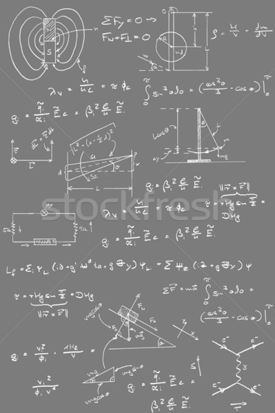 Fysica diagrammen formules krijt handschrift Blackboard Stockfoto © ShawnHempel