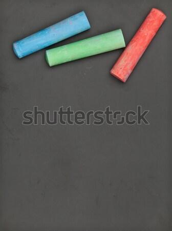 Clean blackboard with colorful chalk Stock photo © ShawnHempel