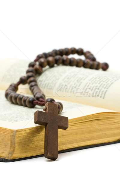 Rosary with holy bible Stock photo © ShawnHempel