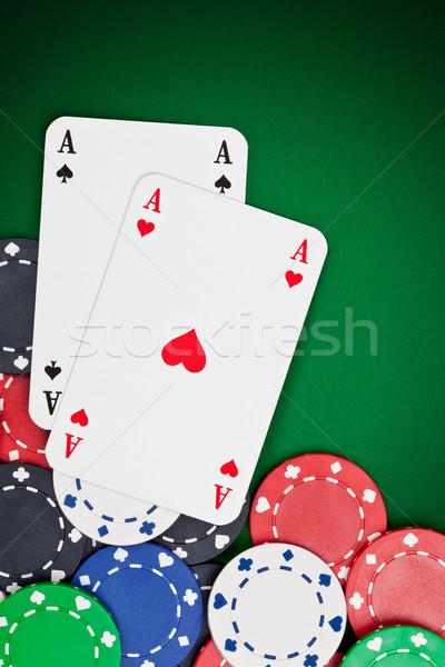 Bolsillo aces par fichas de casino juego póquer Foto stock © ShawnHempel