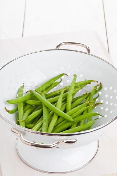 Organiczny słup fasola biały stół kuchenny tabeli Zdjęcia stock © ShawnHempel