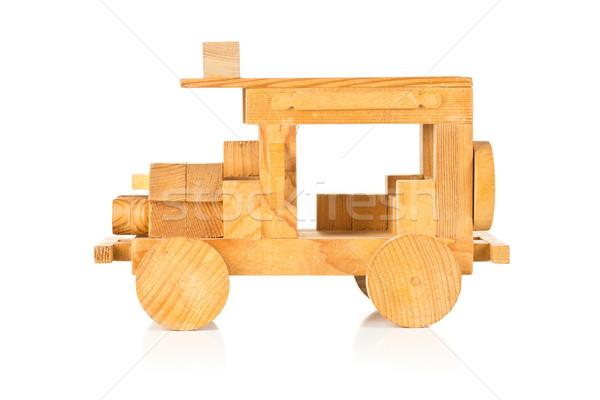 Hand houten speelgoed auto witte onderwijs leuk Stockfoto © ShawnHempel