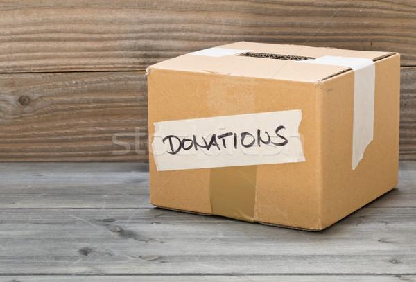 Vazio cartão doações caixa tabela texto Foto stock © ShawnHempel