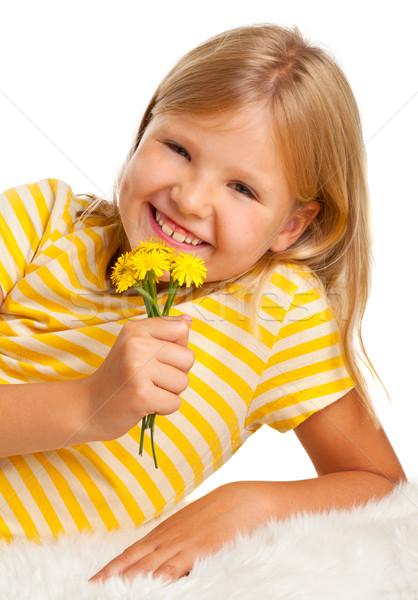 Jong meisje bloemen cute Geel shirt geïsoleerd Stockfoto © ShawnHempel