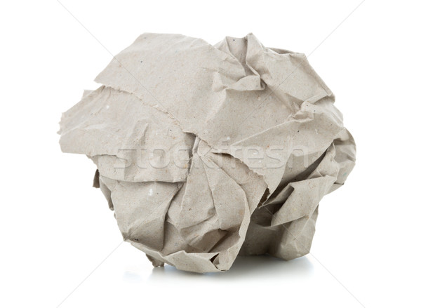 Crumbled brown recycled paper ball on white background  Stock photo © ShawnHempel