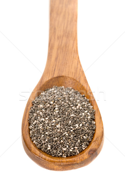 Todo secado negro semillas cuchara de madera blanco Foto stock © ShawnHempel