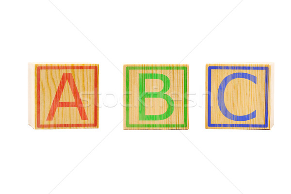 ABC letters on three brown wooden cubes lined up Stock photo © ShawnHempel