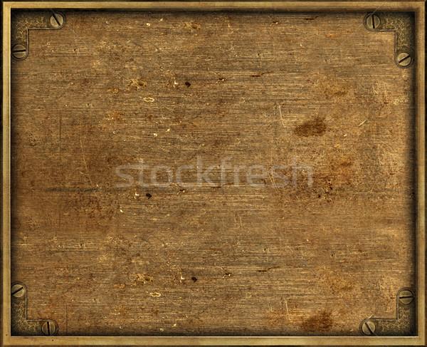 Grunge latão prato amarelo quadro fundo Foto stock © ShawnHempel
